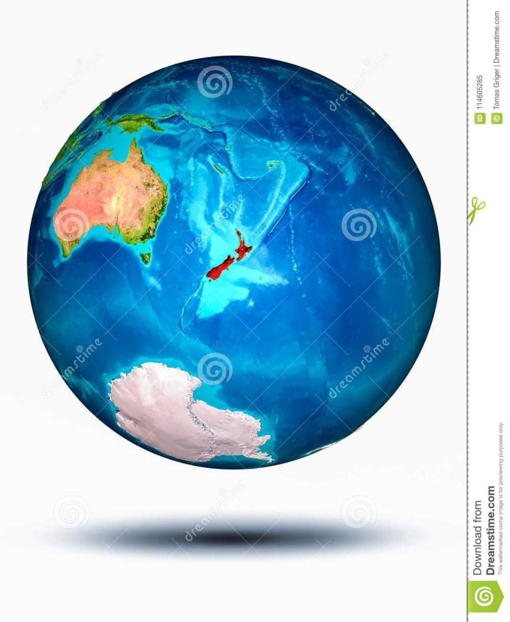 medium resolution of new zealand in red on model of planet earth hovering in space 3d illustration isolated on white background elements of this image furnished by nasa