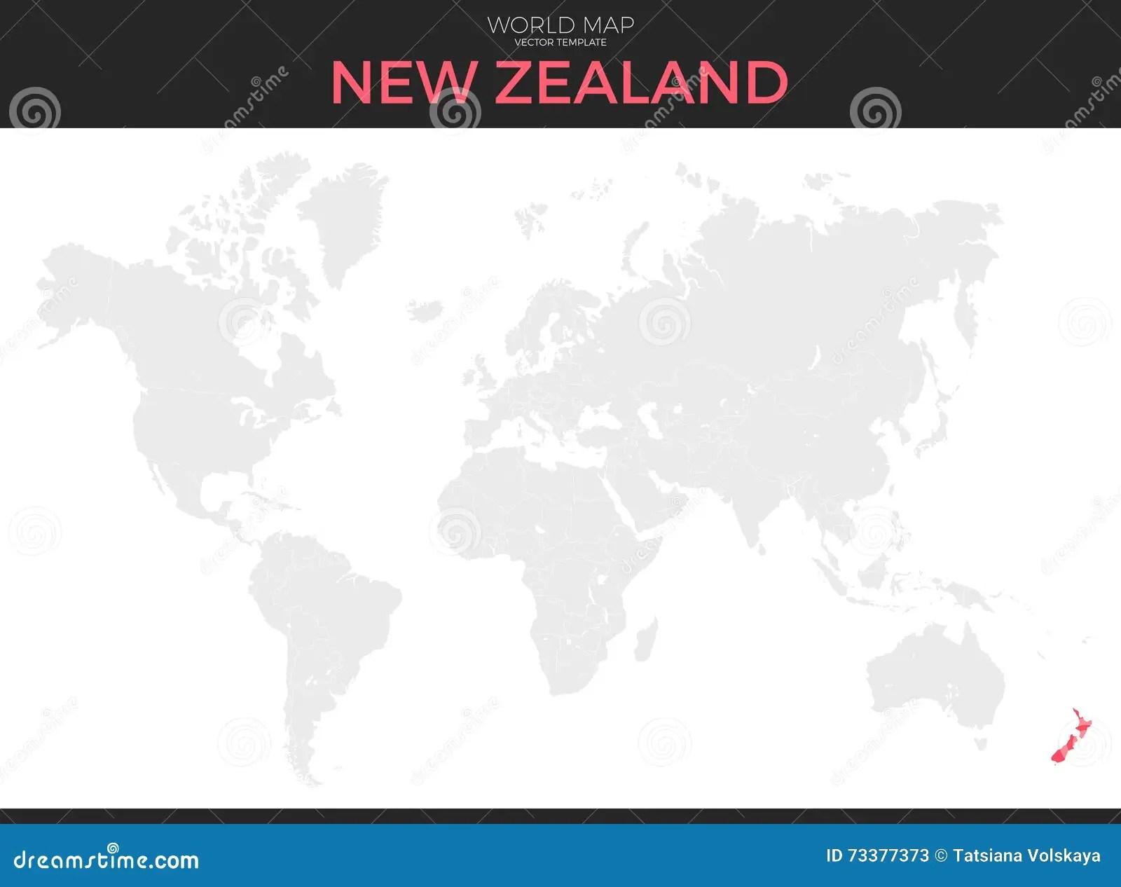 New Zealand Location Map Cartoon Vector