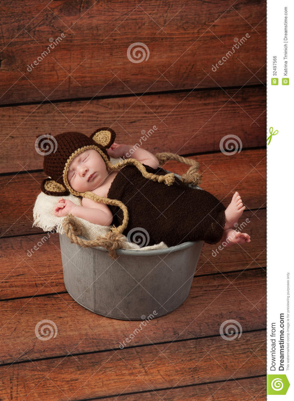 Newborn Baby In A Monkey Costume Stock Photo  Image 32497566