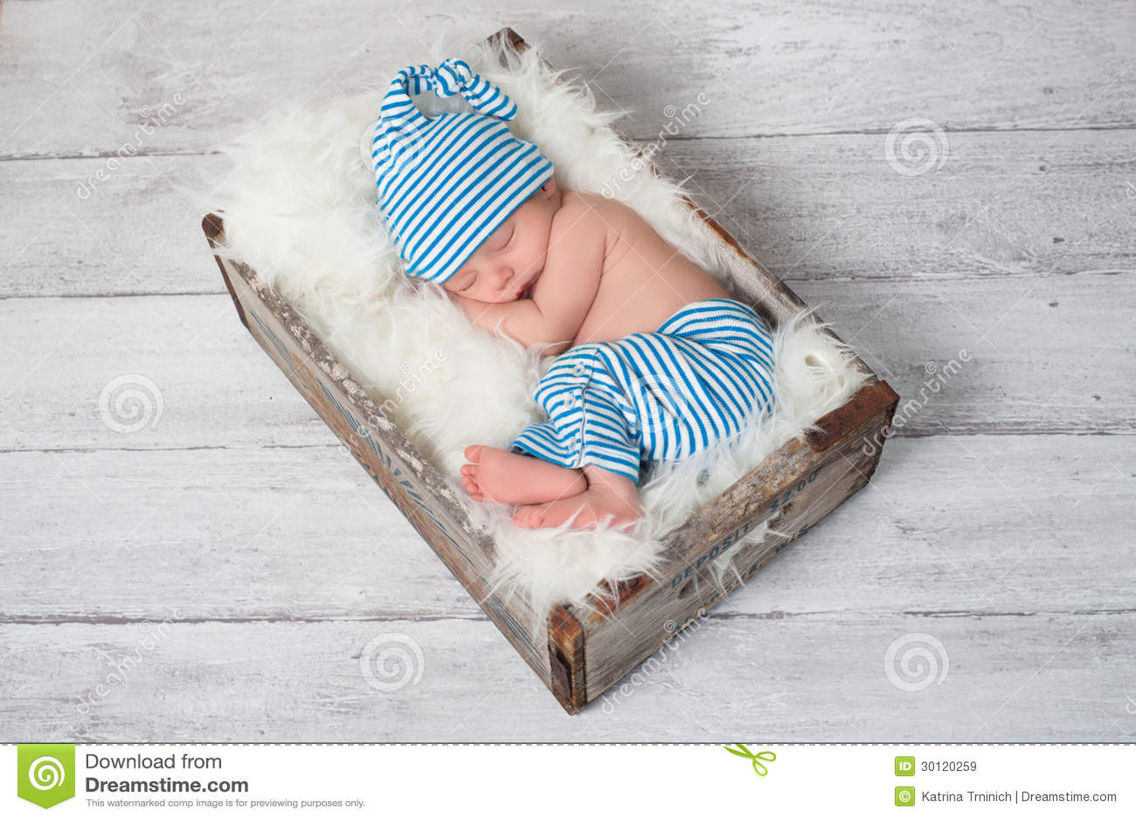 Sleeping Newborn Baby Wearing Pajamas Royalty Free Stock