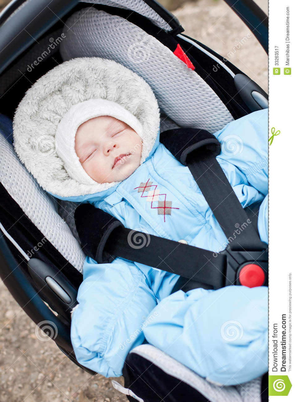 Newborn Sleeping In The Car Seat Stock Image  Image 33263517