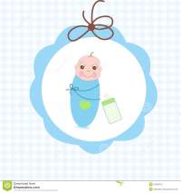 Newborn Swaddle Baby Boy With Bottle Greeting Card Stock ...