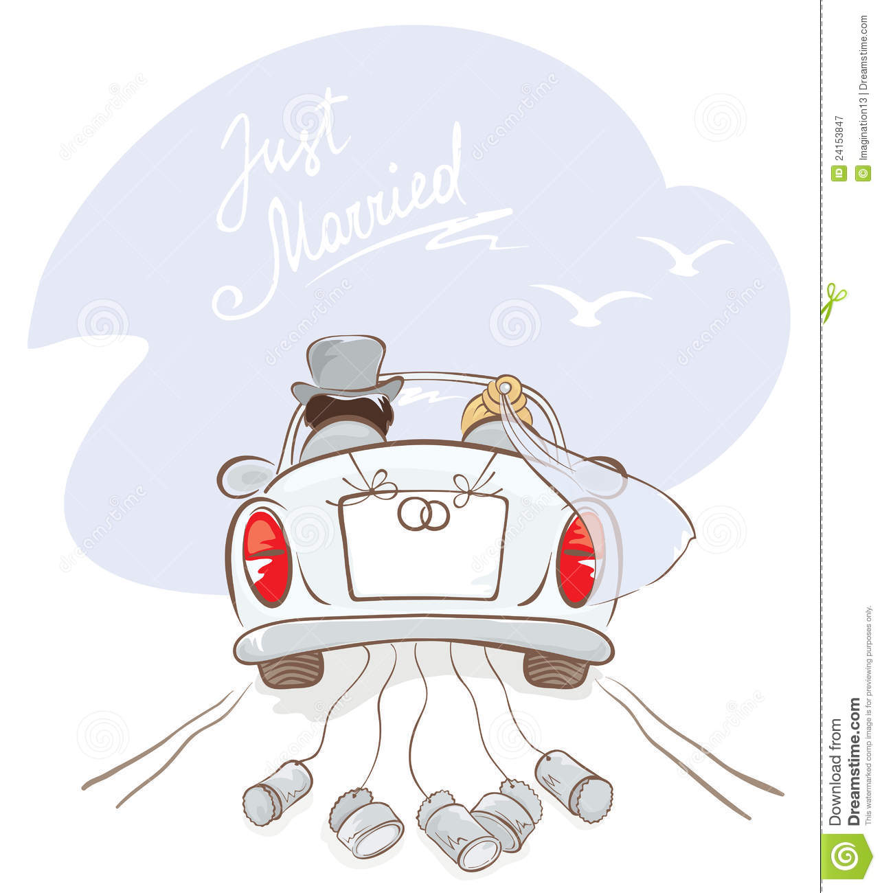 Newlyweds in a car stock vector Illustration of cheerful  24153847