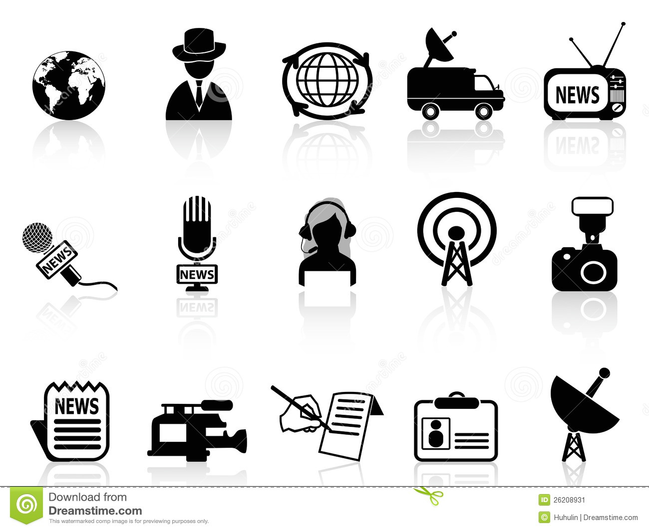 News Reporter Icons Set Stock Vector Illustration Of Hand