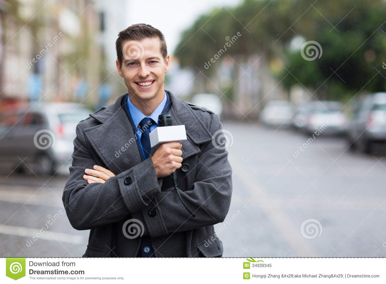 News Reporter Outdoors Royalty Free Stock Photo Image