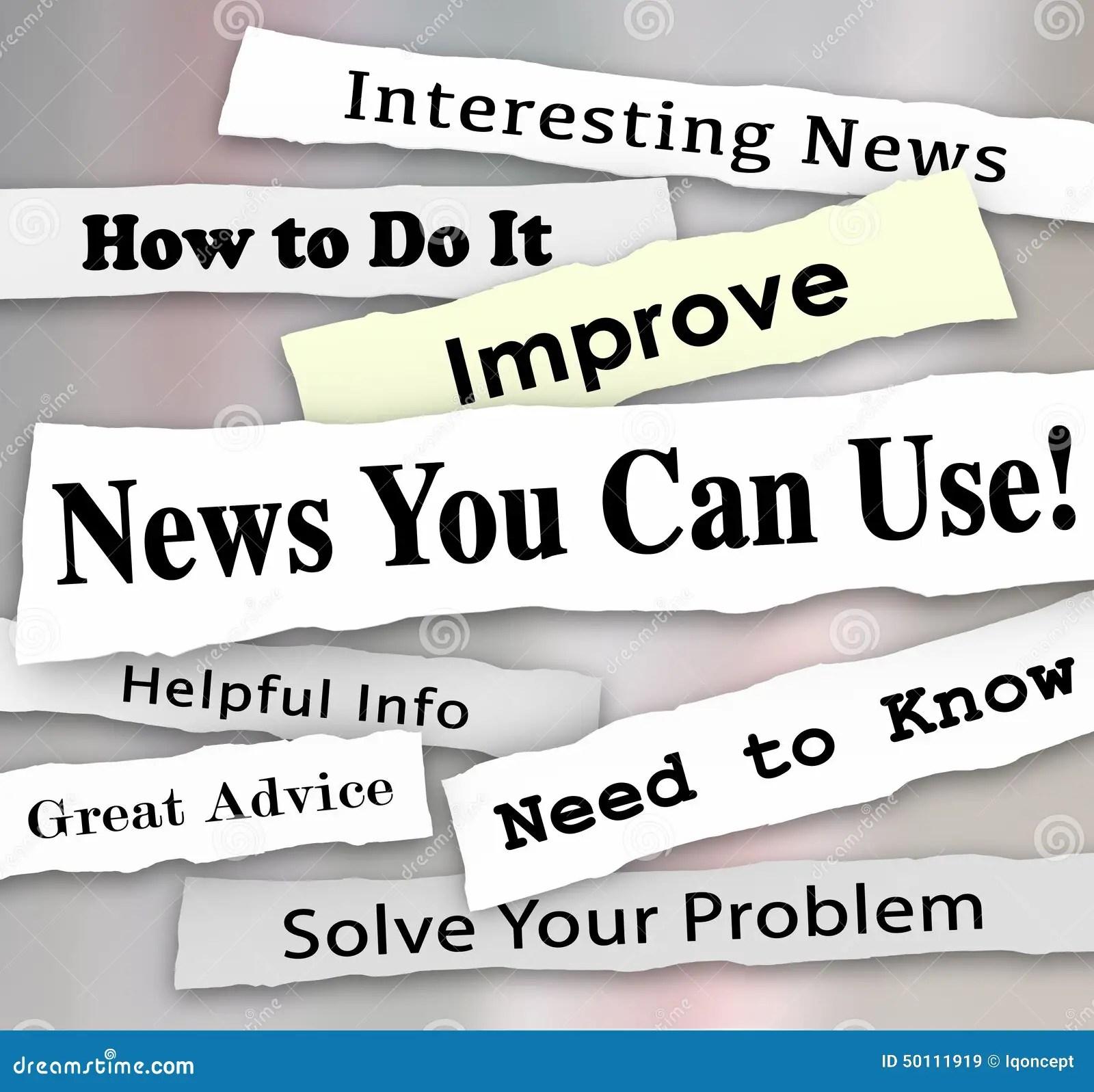 News You Can Use Newspaper Headline Articles Helpful