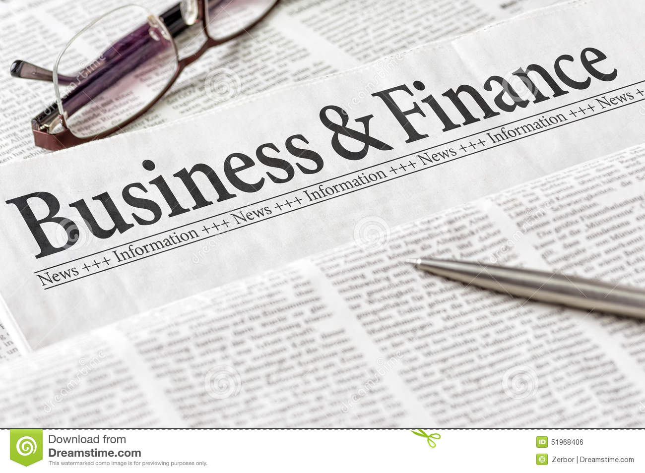 Newspaper With The Headline Business And Finance Stock