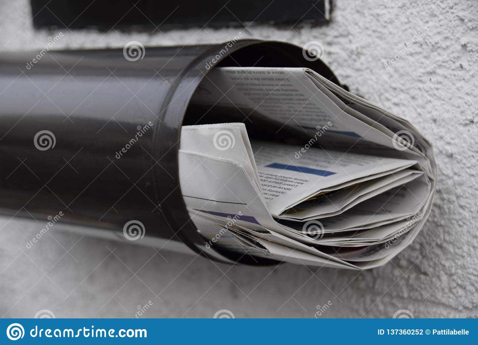 Newspapers In A Mailbox Stock Photo Image Of Postage