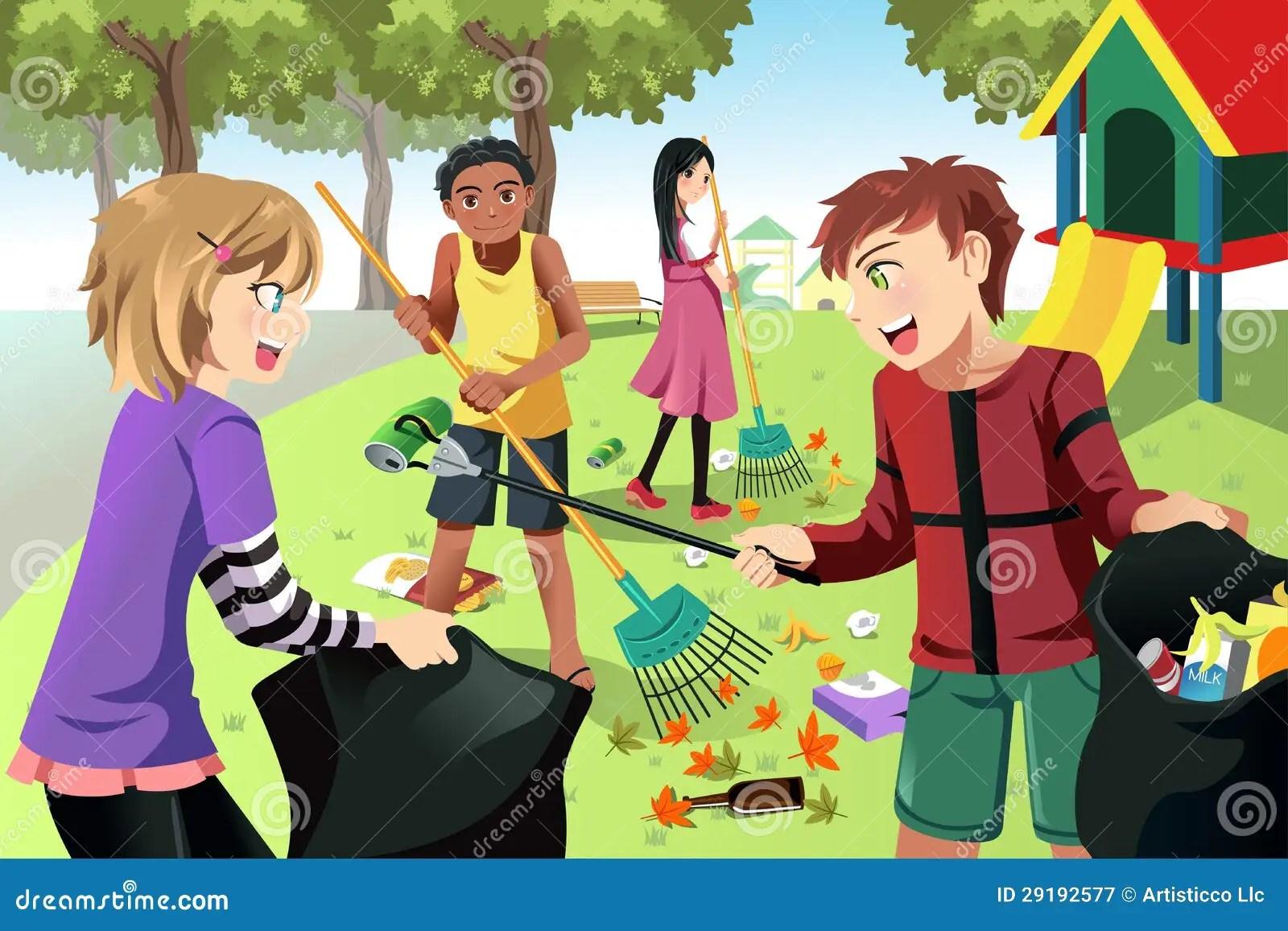 Ninos Voluntarios Ilustracion Del Vector Ilustracion De