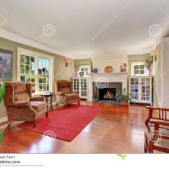 Nice Living Room Rugs Pics Of Small Designs With Vintage Furniture And Red Rug Stock Image
