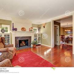 Nice Living Room Rugs Covers With Vintage Furniture And Red Rug Stock Image