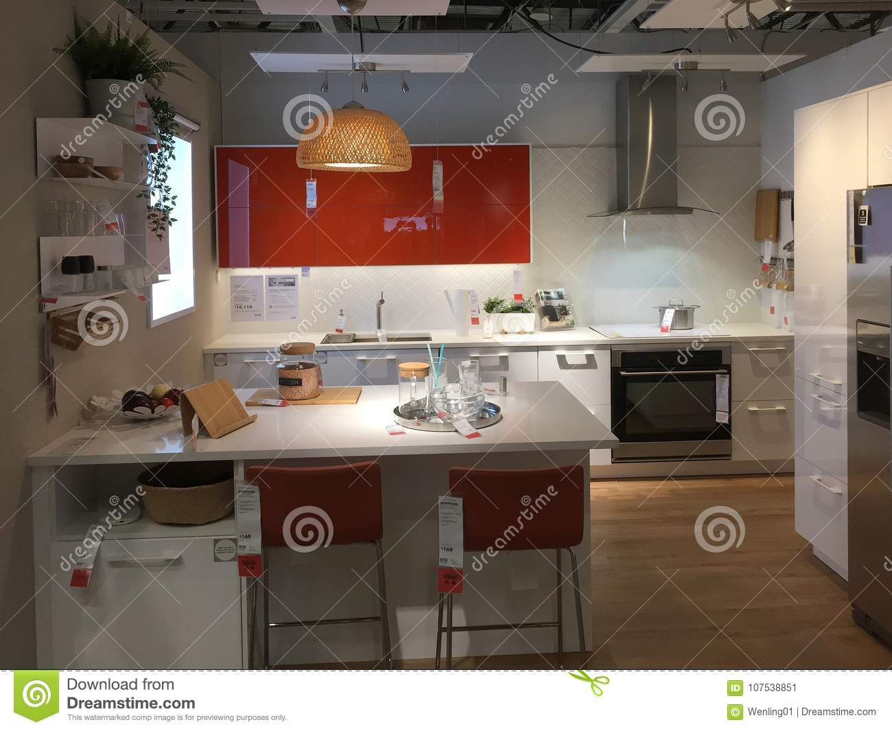 modern kitchen design with island at ikea editorial photo - image of