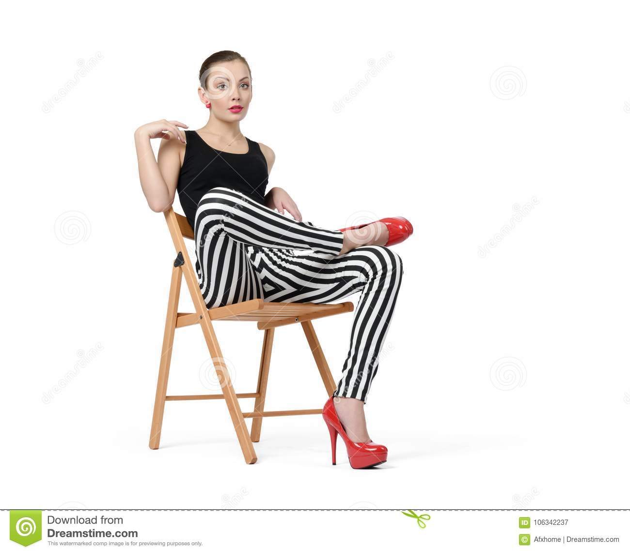 Chair Pants Nice Young Woman In Striped Pants And Red Heels Sitting In Chair