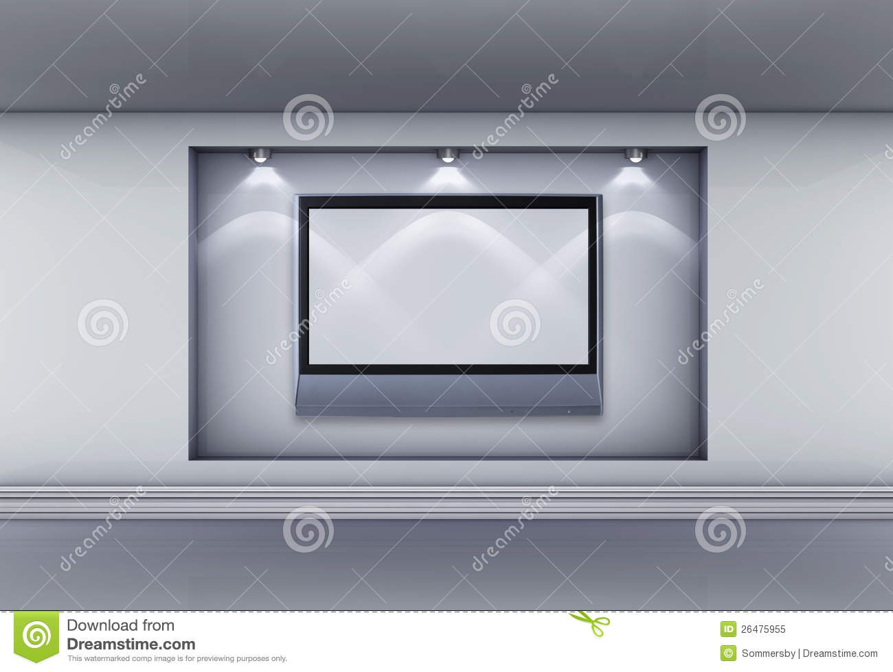 Niche With Lcd Tv And Spotlights For Exhibit Royalty Free Stock Photo  Image 26475955