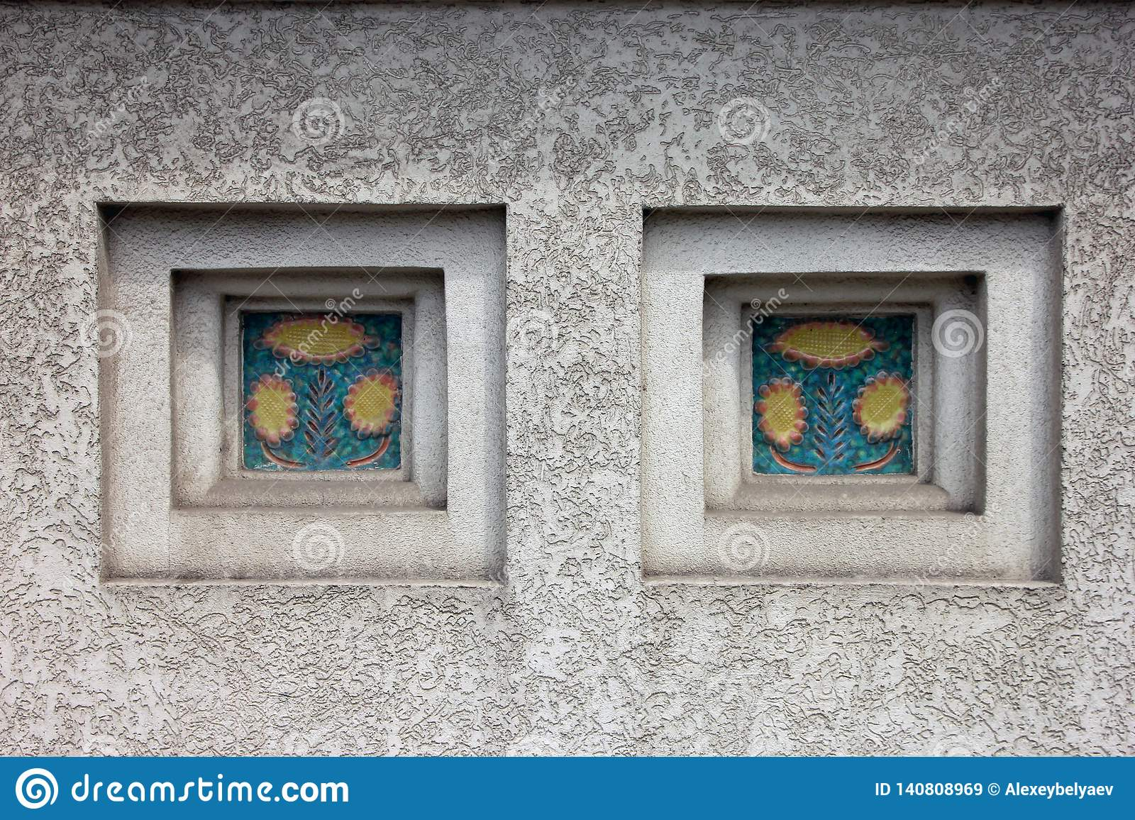 https www dreamstime com niches decorative inserts ceramic tile white plastered wall image140808969