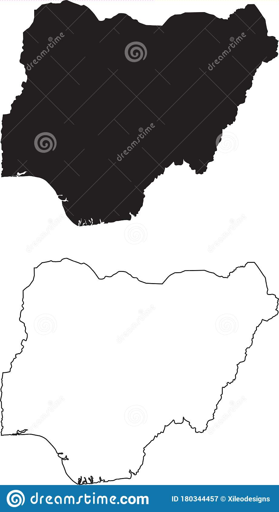Nigeria Map Black Silhouette Country Map Isolated On White Background Black Outline On White Background Vector File Stock Vector Illustration Of Africa Geography 180344457