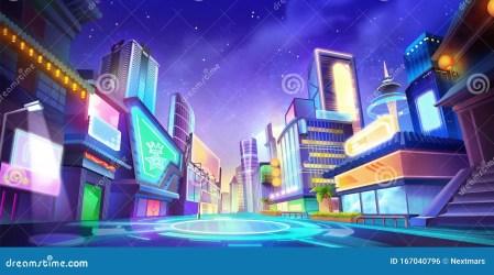 Night City Illustration Fantasy Urban Backdrop Concept Art Stock Illustration Illustration of evening landscape: 167040796