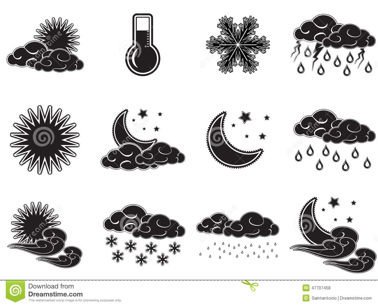Night Day Weather Colour Icons Set Black Isolated On White