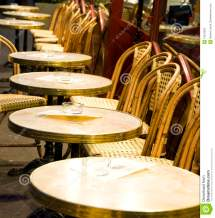Night Paris France Cafe Tables Chairs Stock