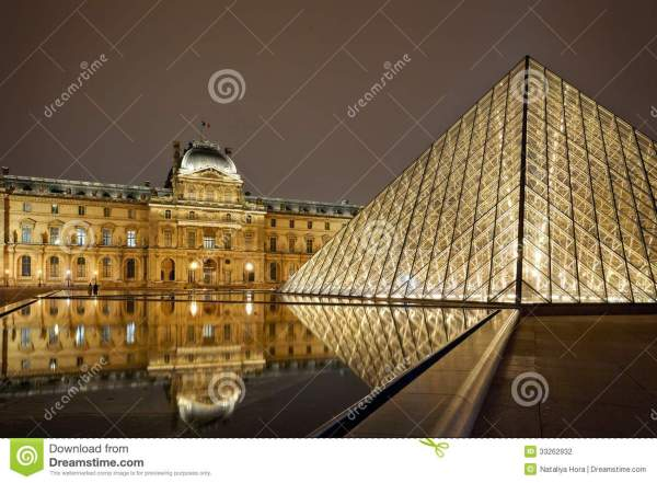 Night View Of Louvre Art Museum Paris France. Editorial