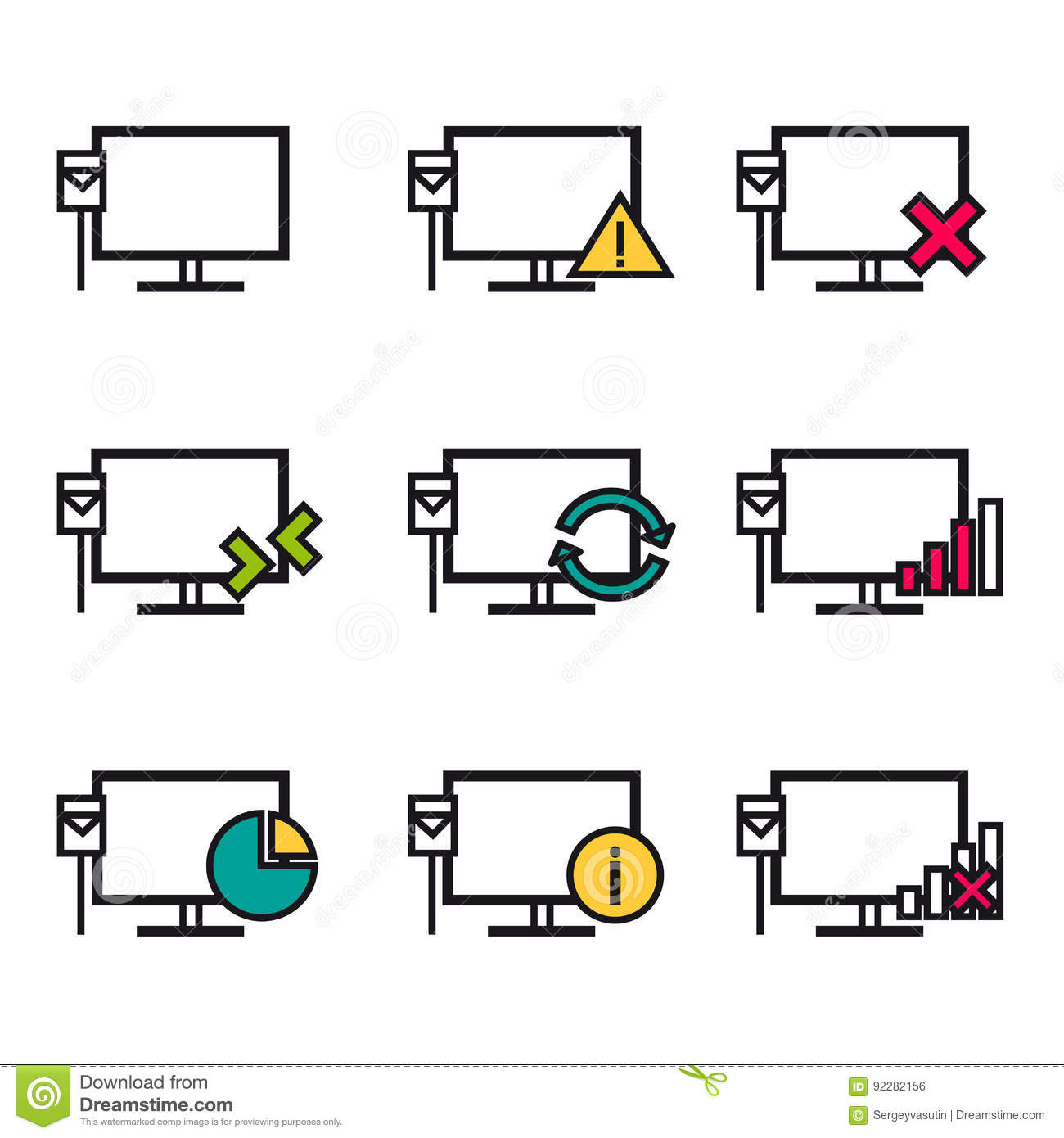 Computer And Network Connections Icons Setctor