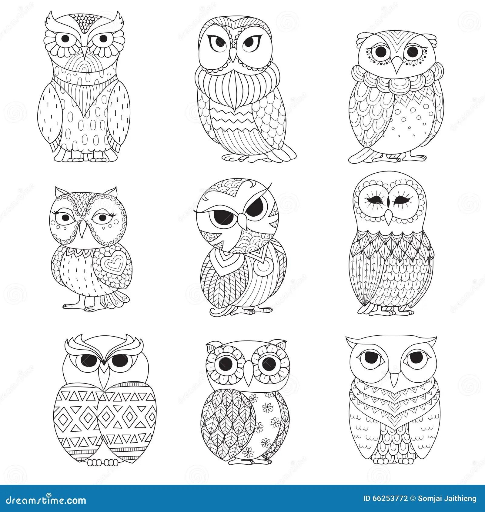 Nine Owls Design For Coloring Book, Tattoo, Shirt Design