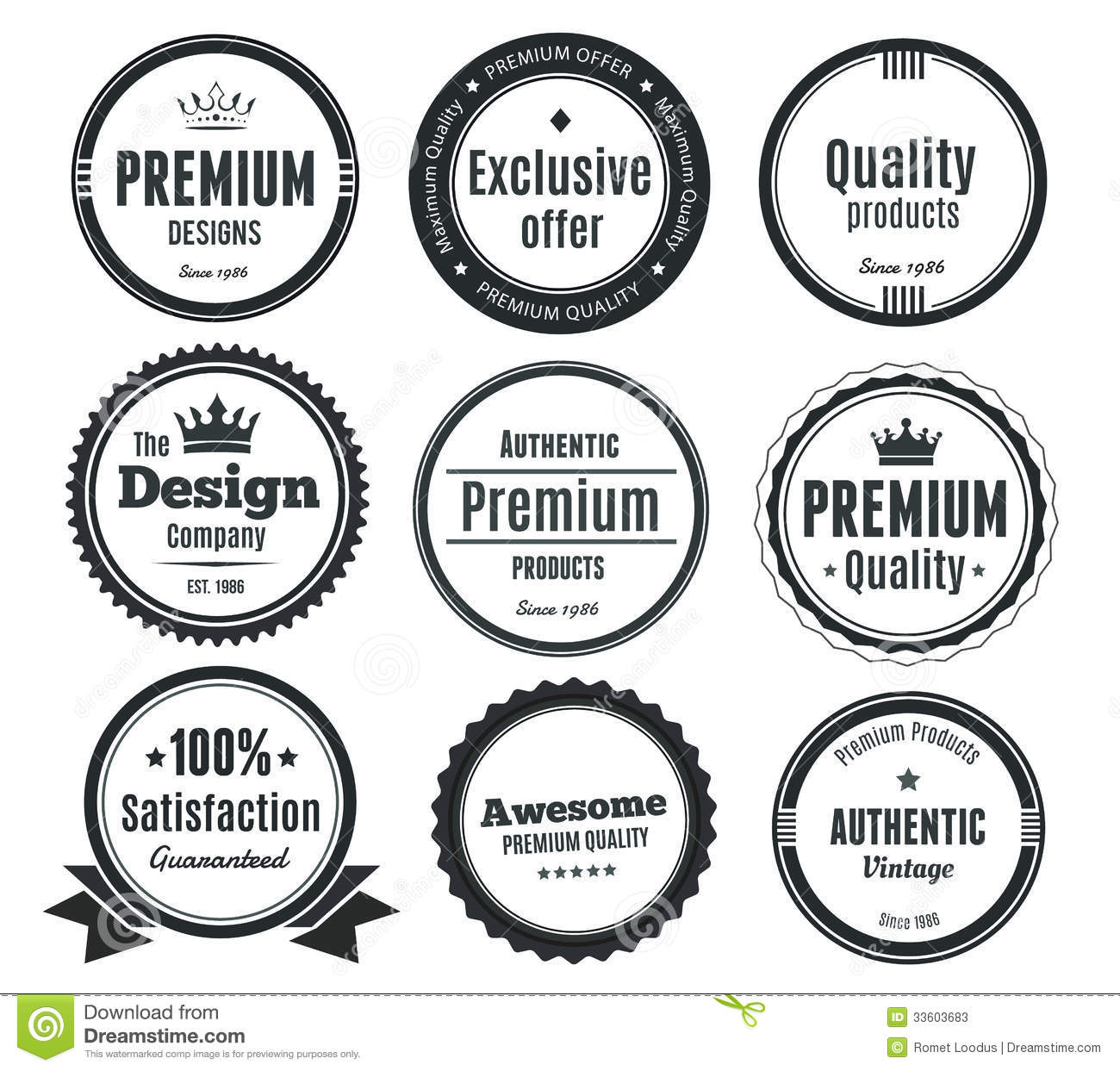 Set Of Vintage Labels Or Badges Stock Vector