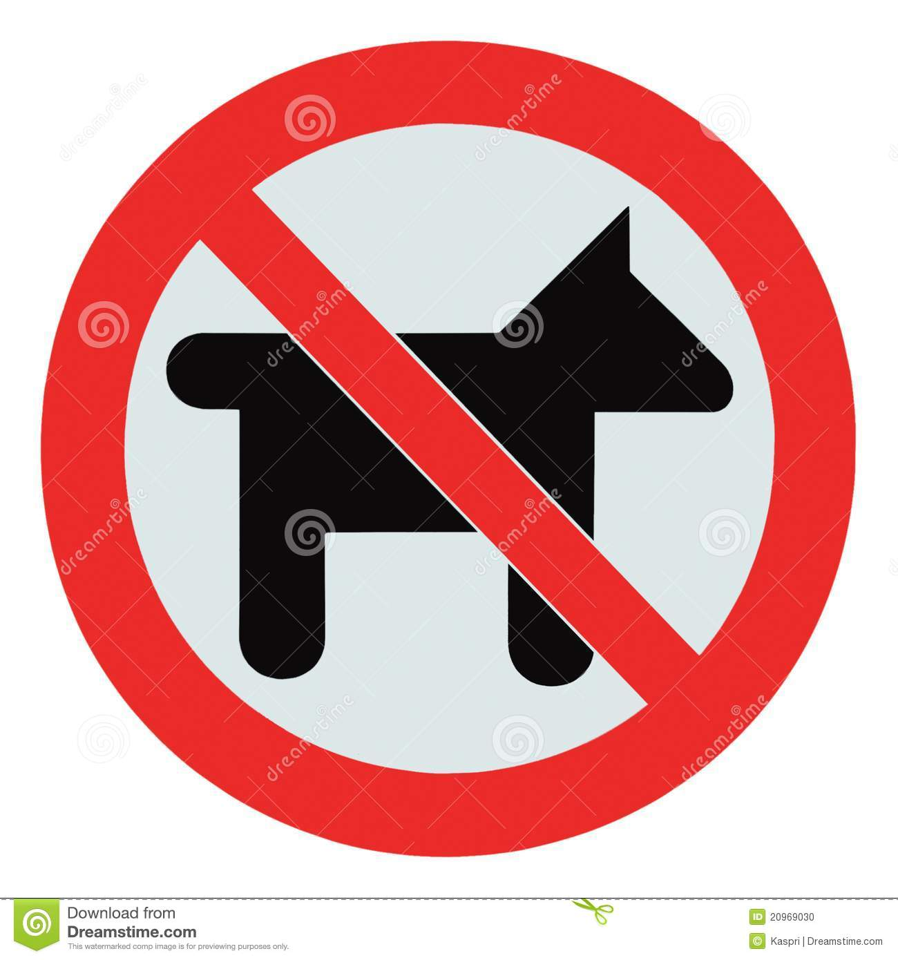 No Dogs Pets Allowed Warning Sign Isolated Signage Stock