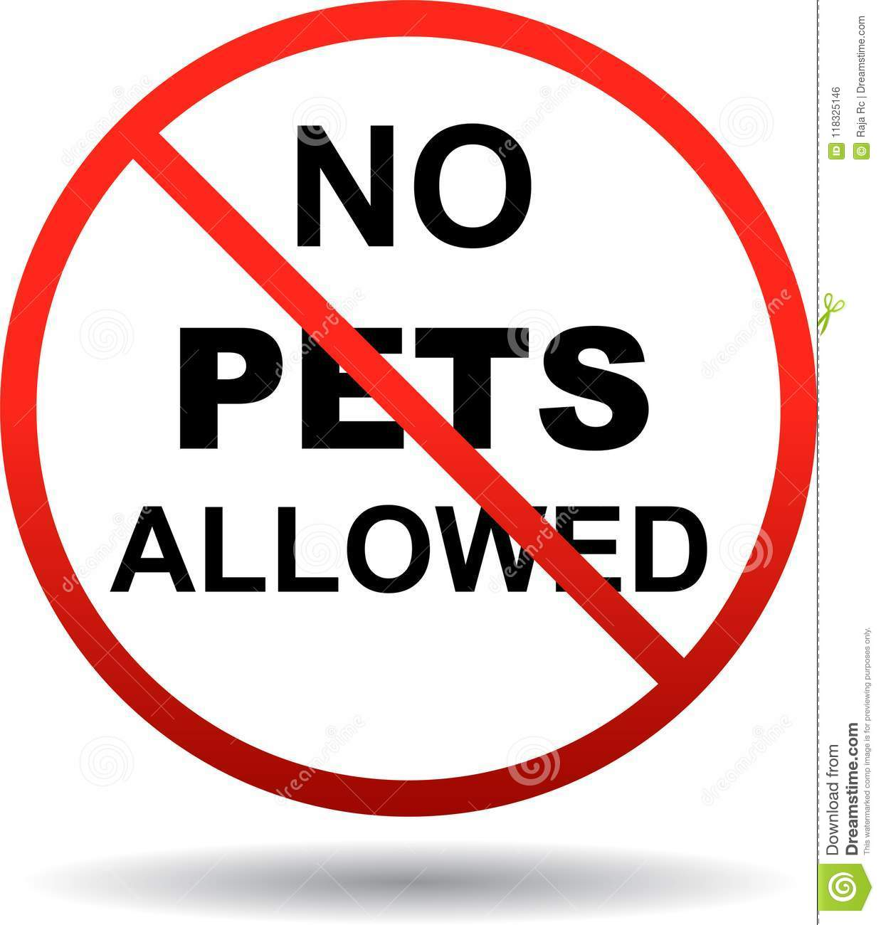 No Pets Allowed Sign On White Stock Vector