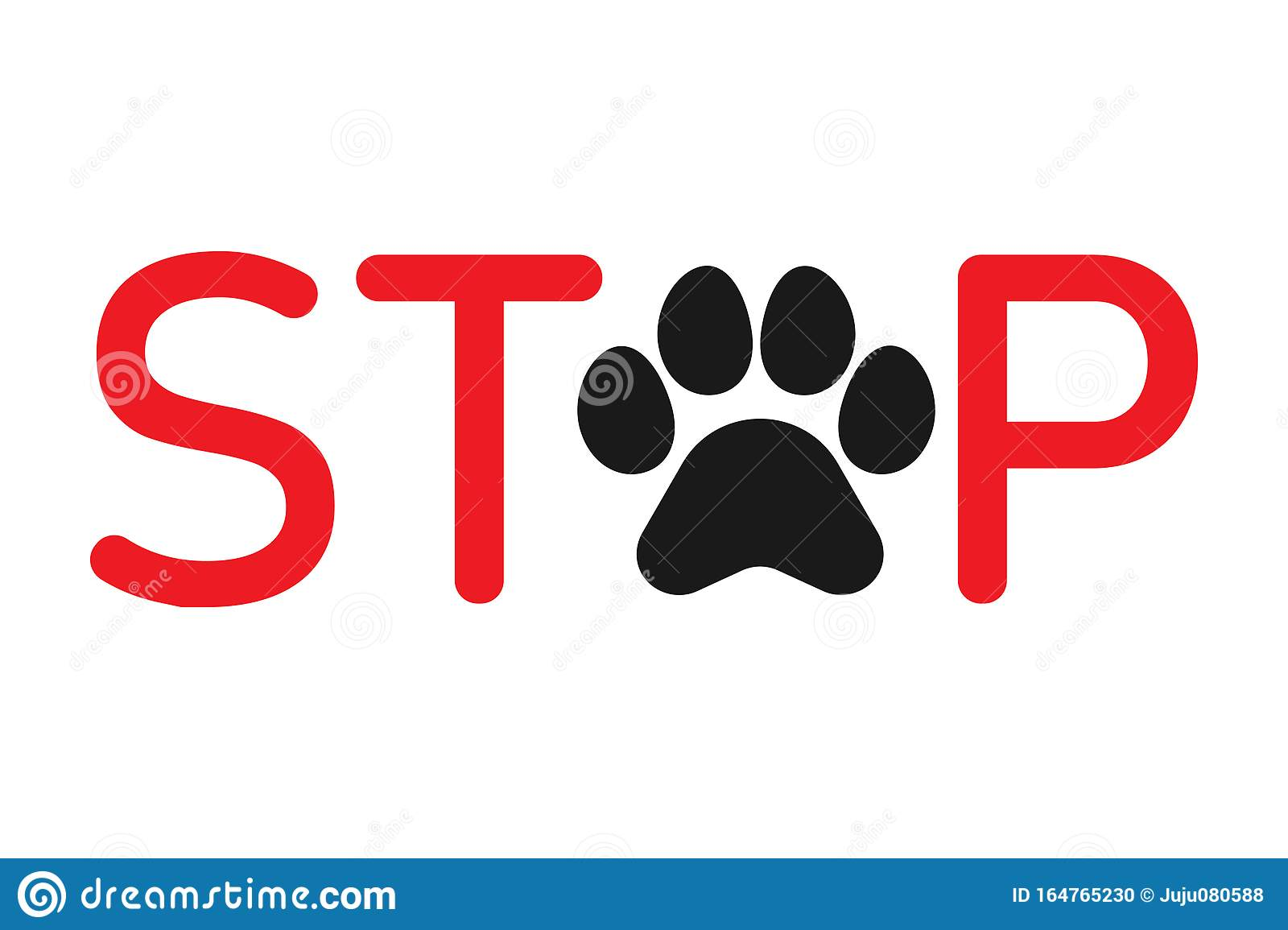 No Pets Cat Or Dog Sign Word Stop With Paw Print Symbol