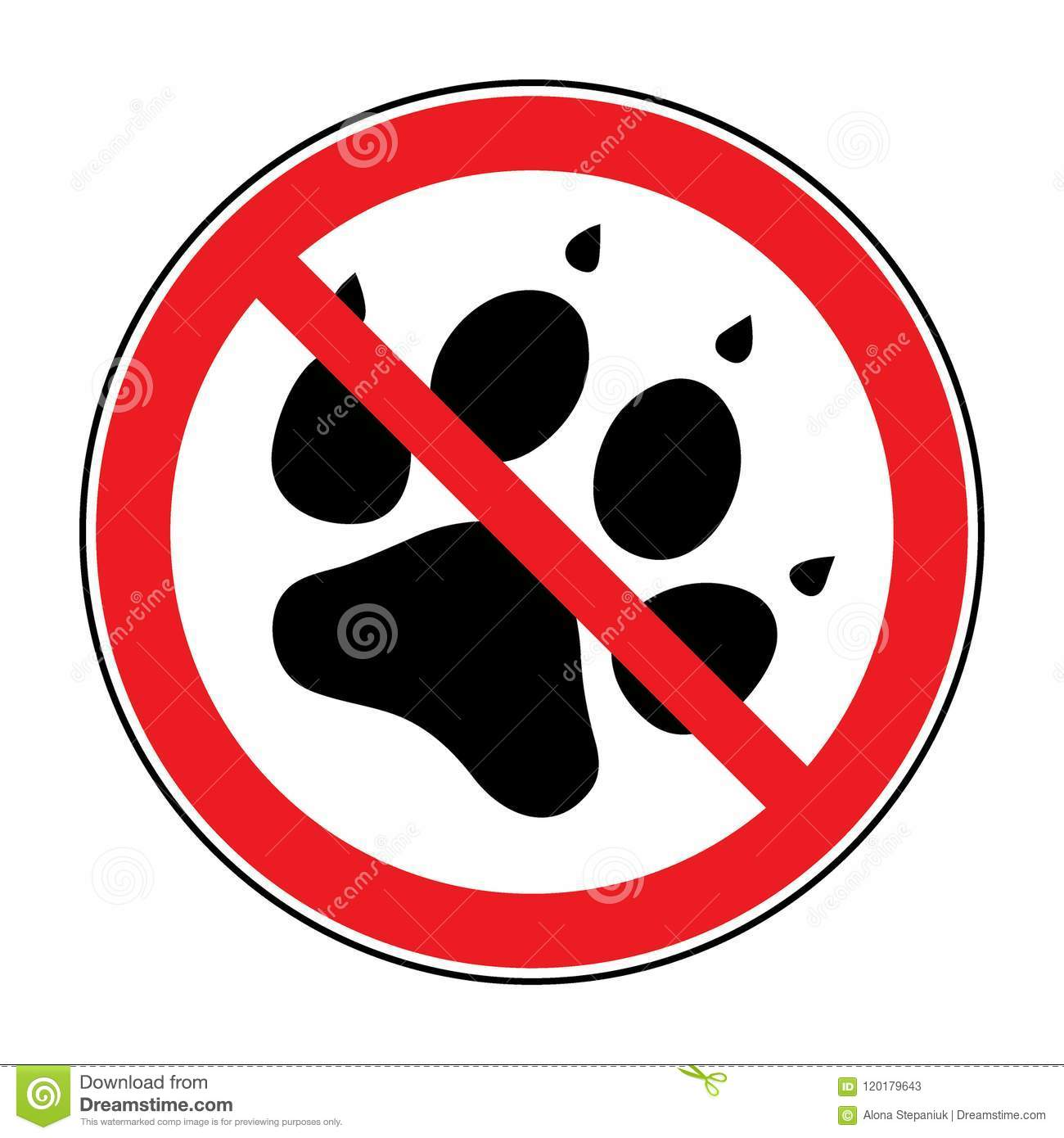 No Pets Sign Stock Vector Illustration Of Round Button