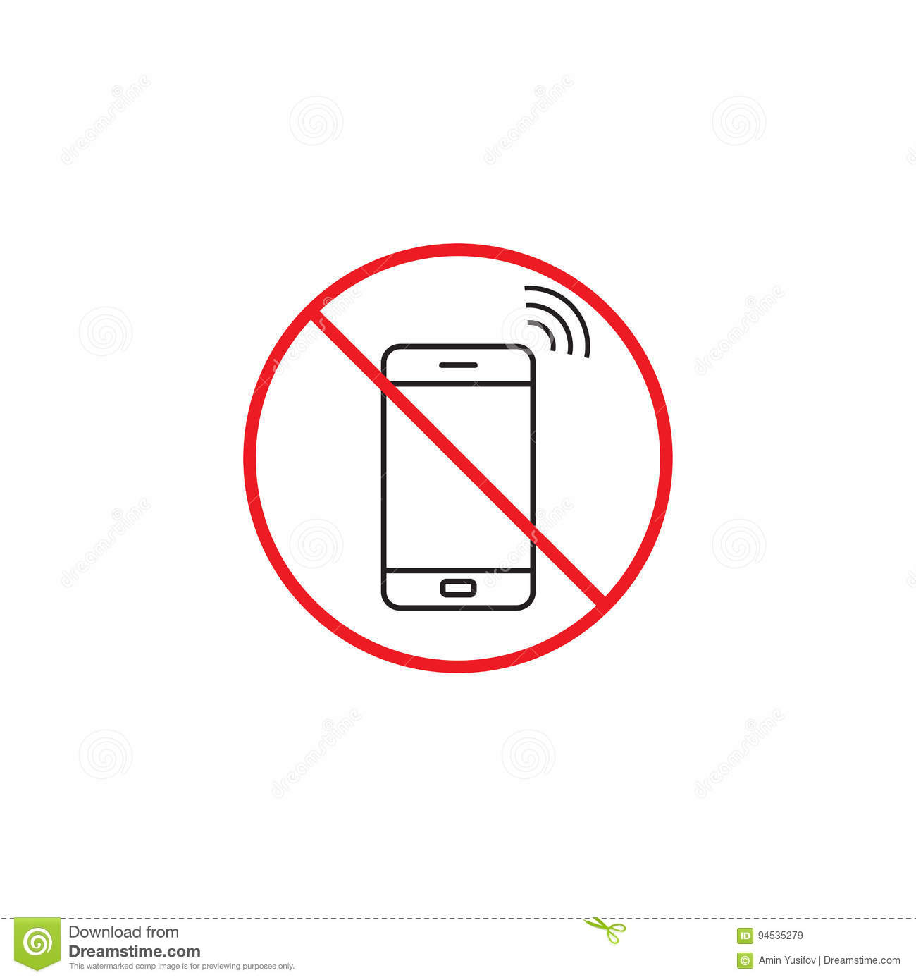 hight resolution of no phone line icon no talking red prohibited sign vector graphics a linear color pattern on a white background eps 10