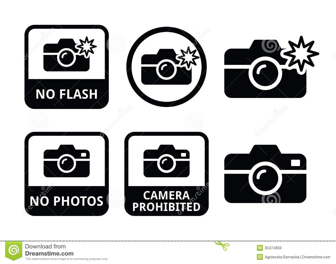No Photos No Cameras No Flash Icons Stock Illustration