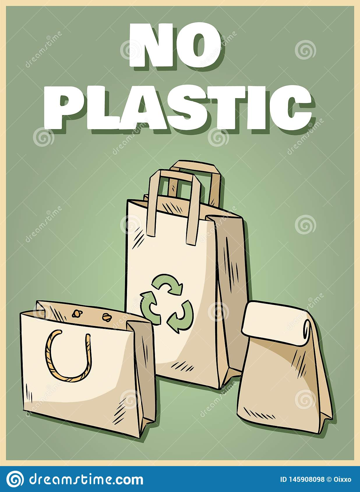 No Plastic Paper Bags Poster Motivational Phrase