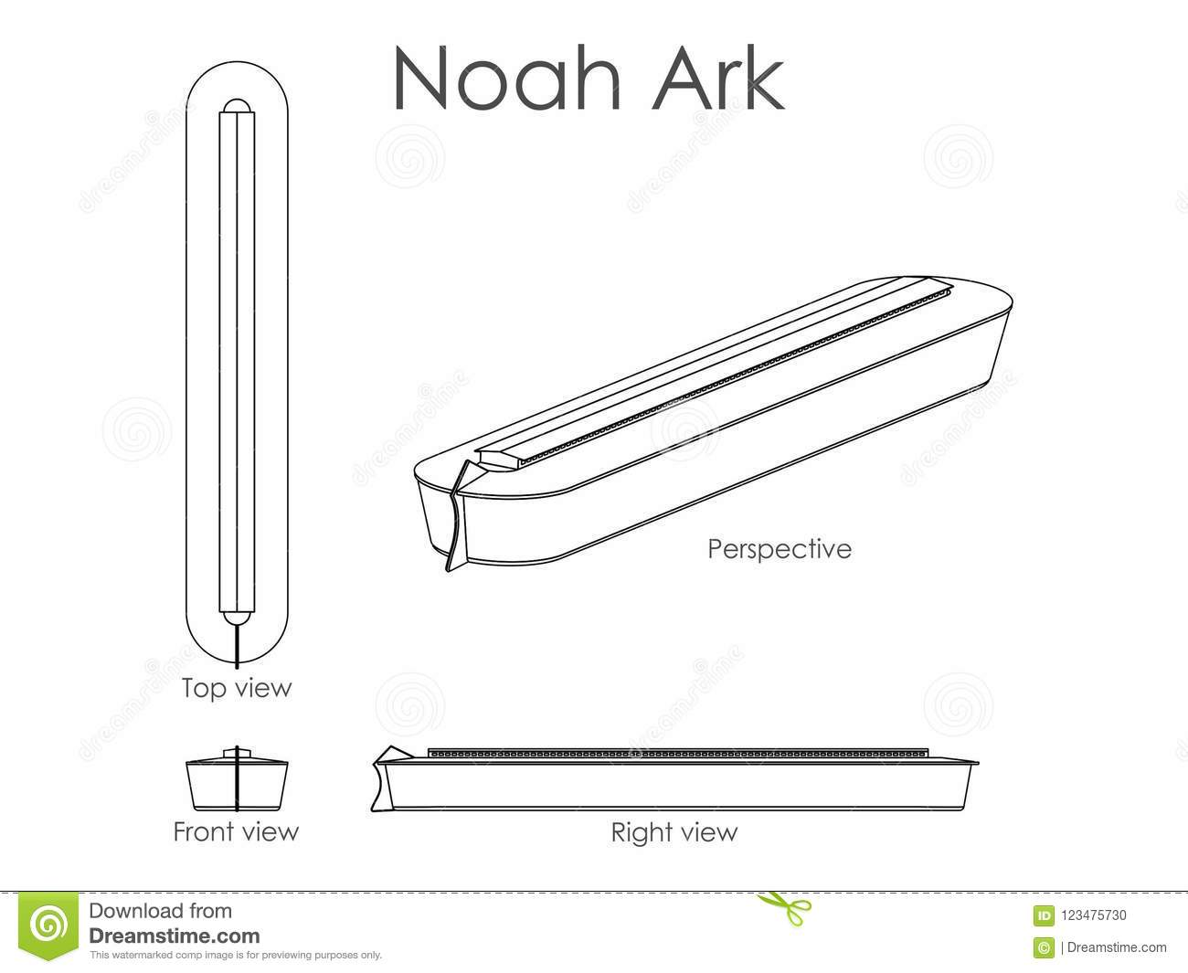hight resolution of noah ark outline only