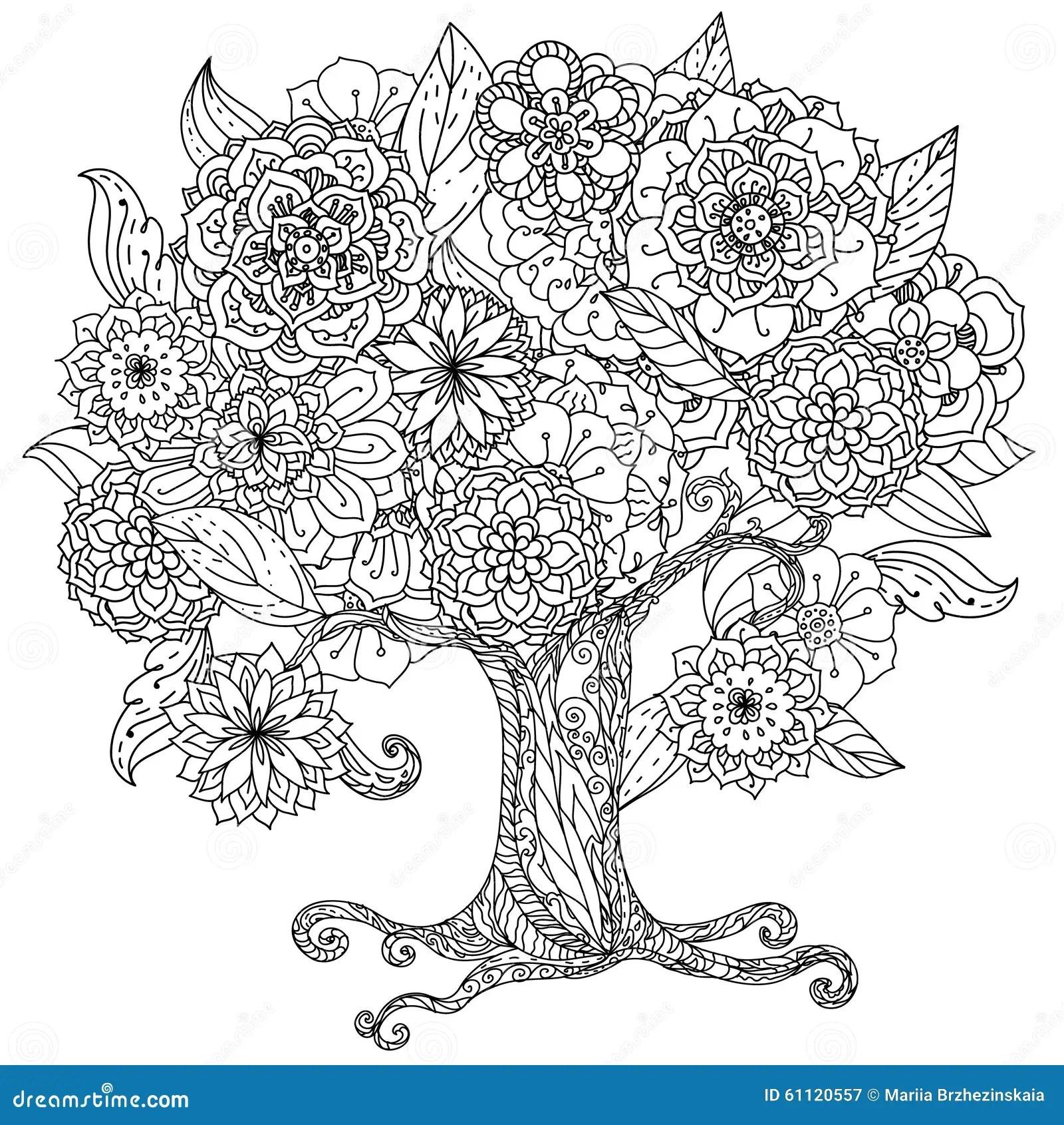 Noir Et Blanc Floral De L'orient De Cercle Illustration de