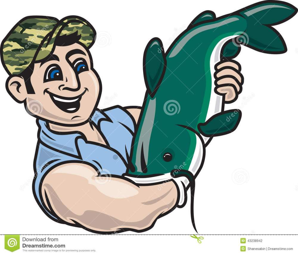 medium resolution of noodling hillbilly fishing illustration of a man catching a catfish with his arm vector