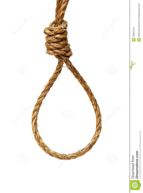 small resolution of a ready made noose on a white background