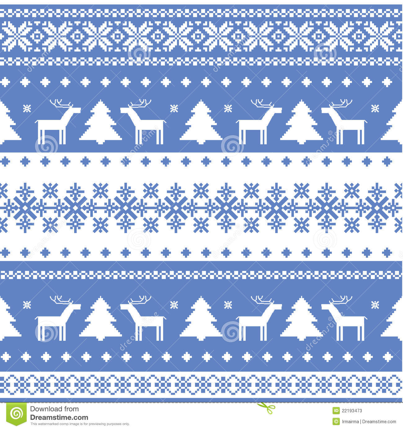 Reindeer Wallpaper Cute Nordic Seamless Christmas Knitted Background Stock Photos