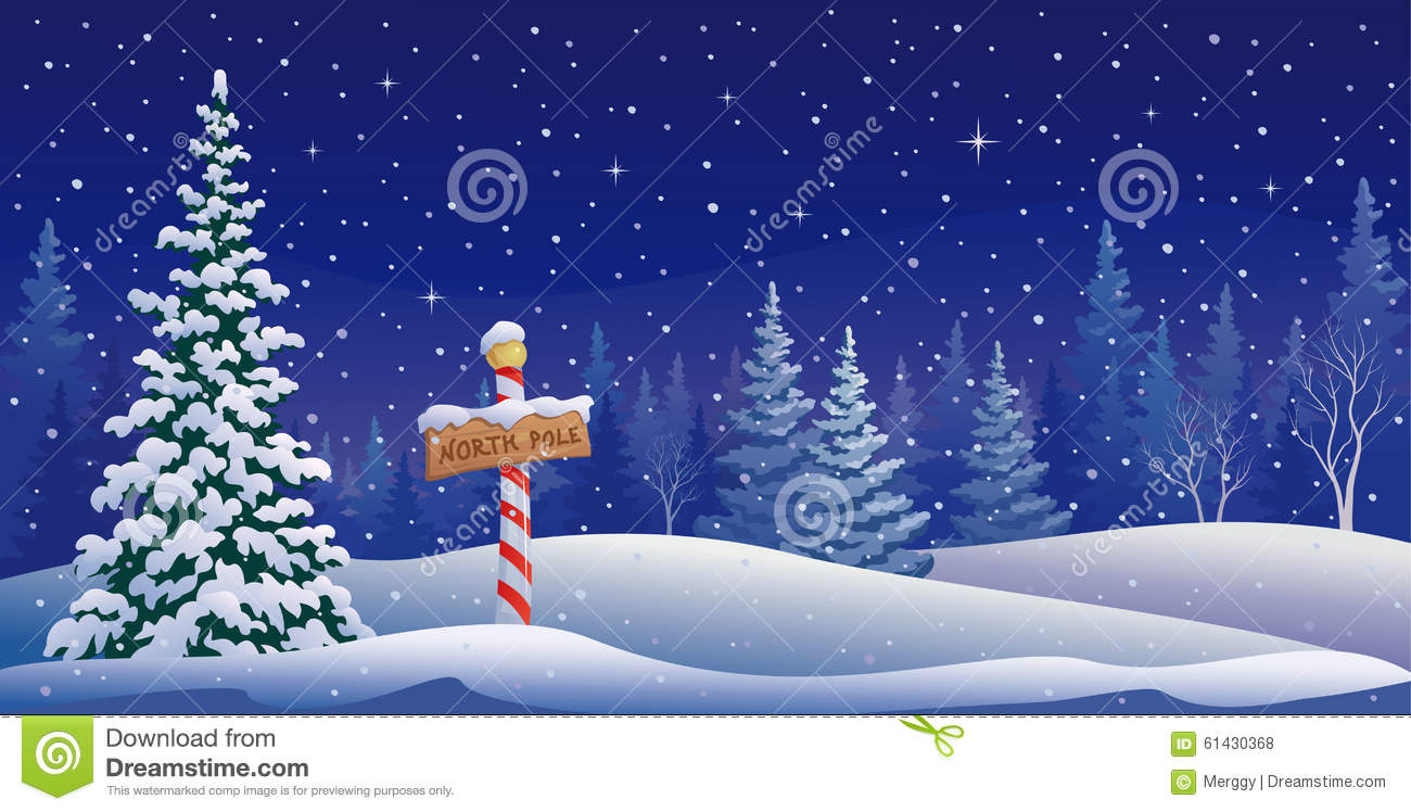 Snow Falling Background Wallpaper North Pole Landscape Stock Vector Image Of Coniferous