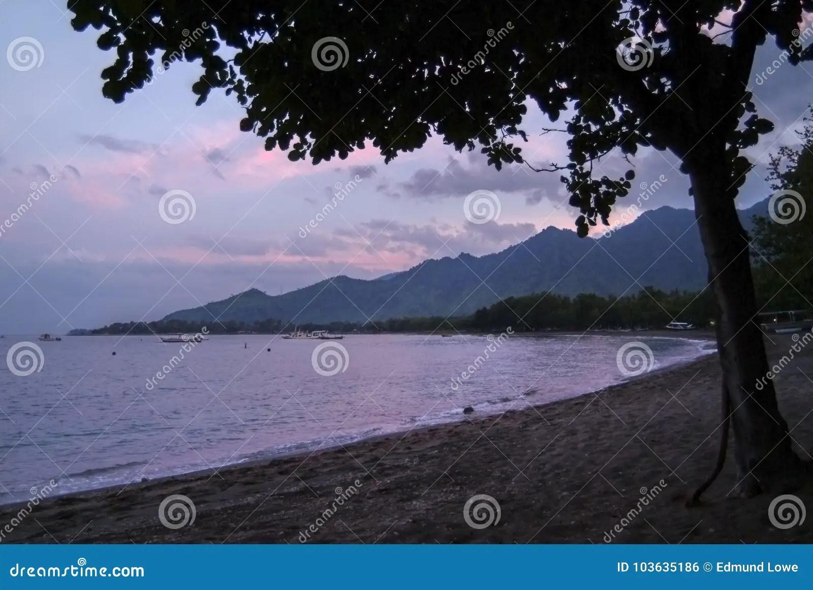 Sunrise On Pemuteran Beach Bali Indonesia Stock Photo
