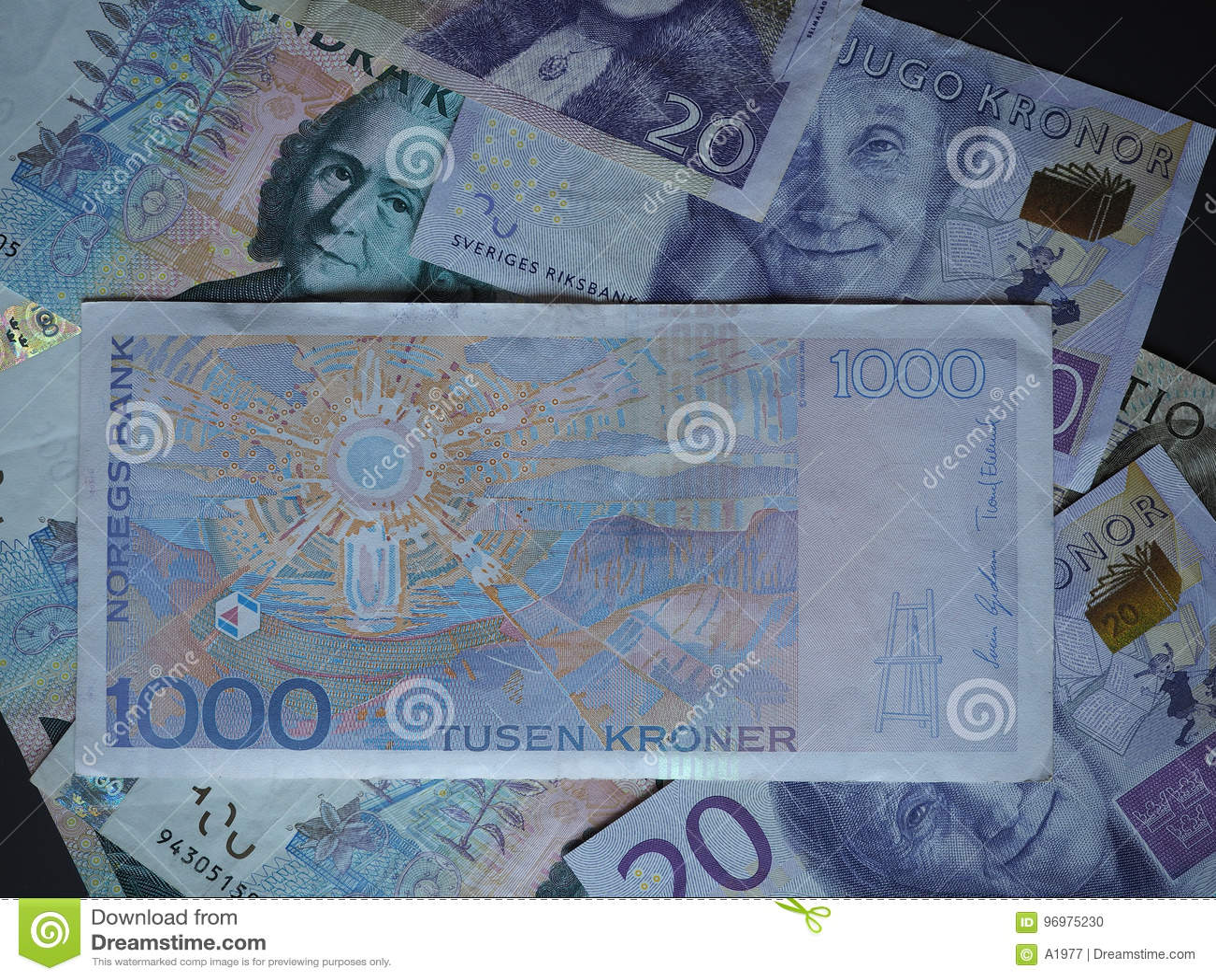 1000 Norwegian Krone NOK Note Stock Photo - Image of swedish. currency: 96975230