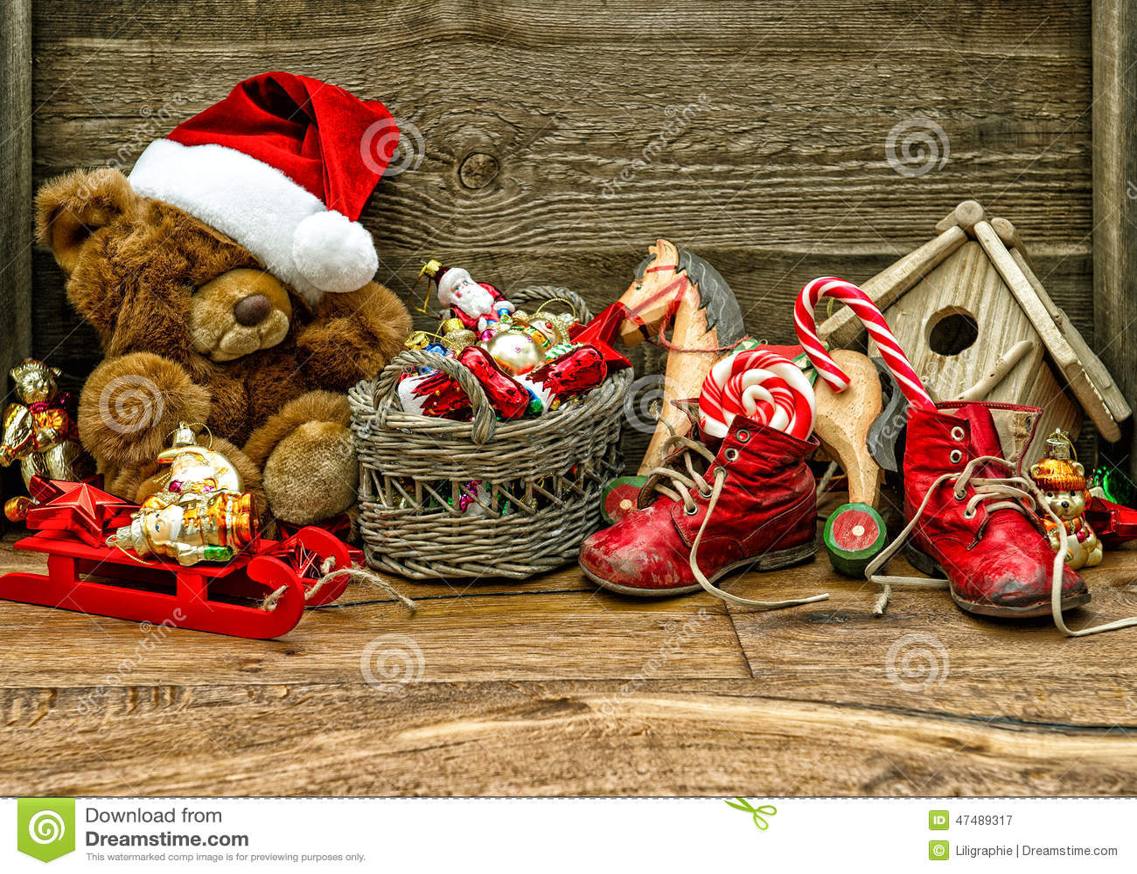Nostalgic Christmas Decorations With Antique Toys Stock