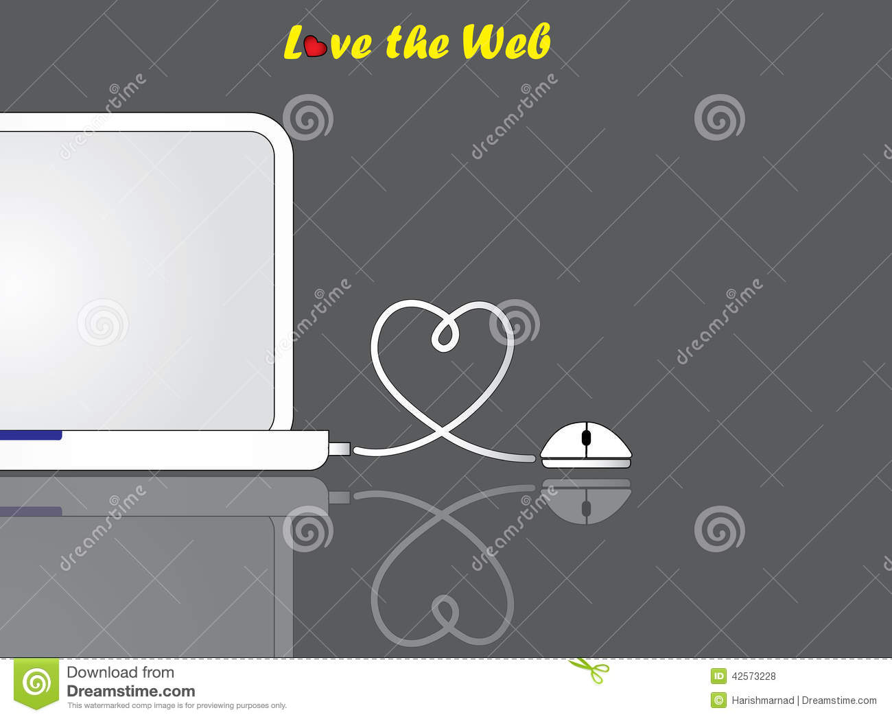 hight resolution of notebook laptop and mouse with love heart shaped wire connection