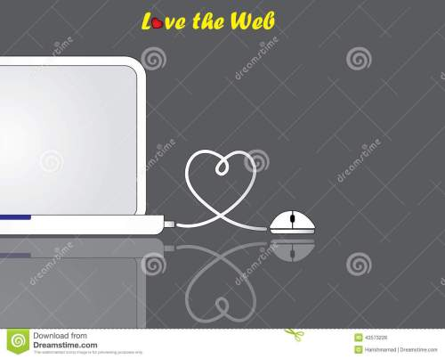 small resolution of notebook laptop and mouse with love heart shaped wire connection