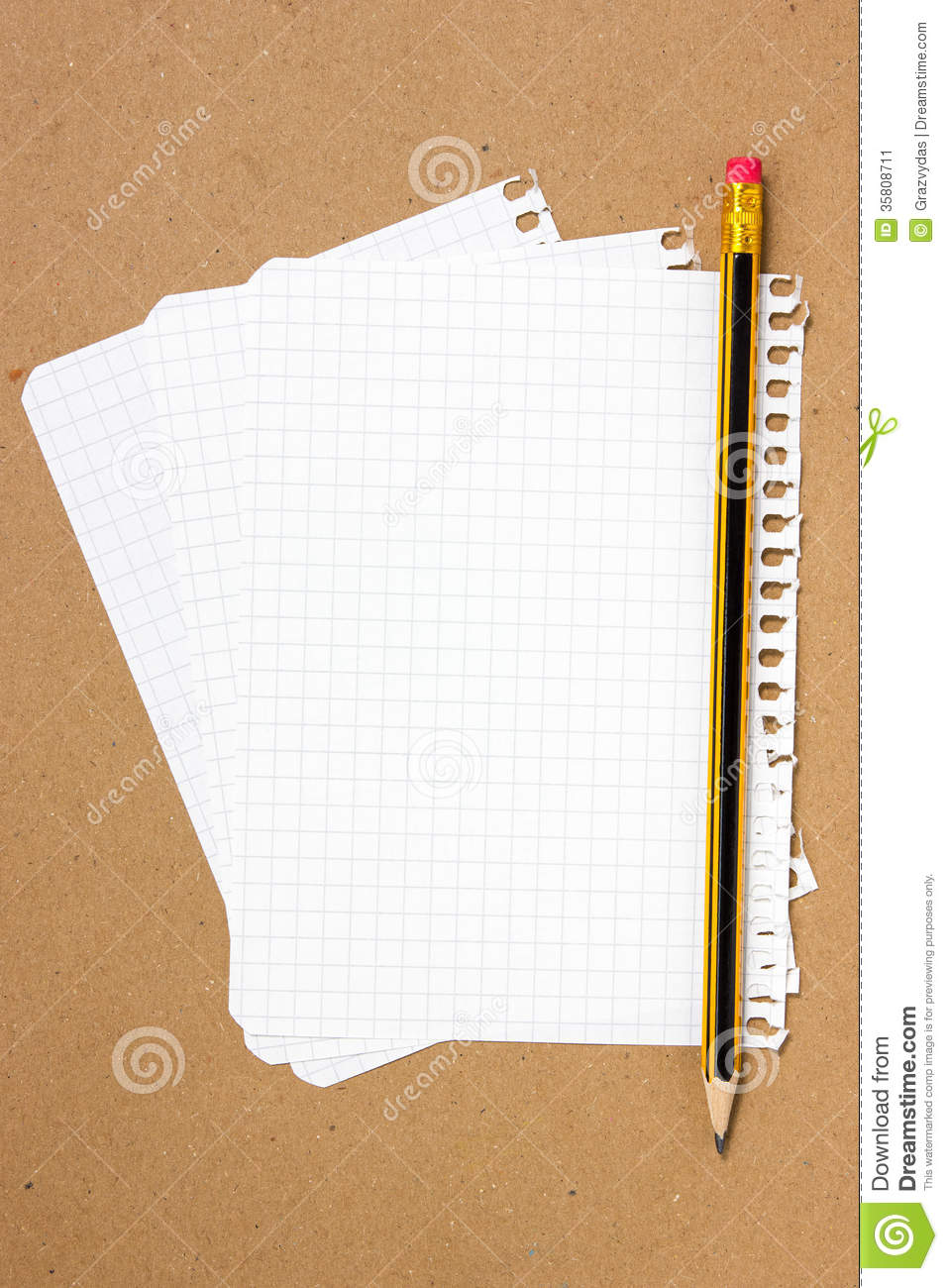 Notebook Sheet And Pencil Stock Image  Image 35808711