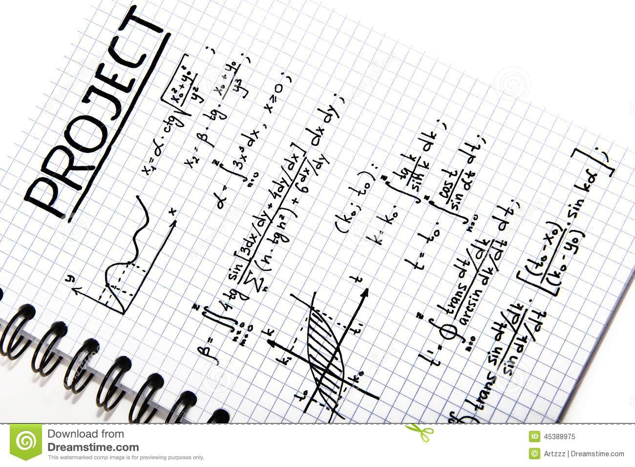 Notepad With A Mathematical Project Stock Image