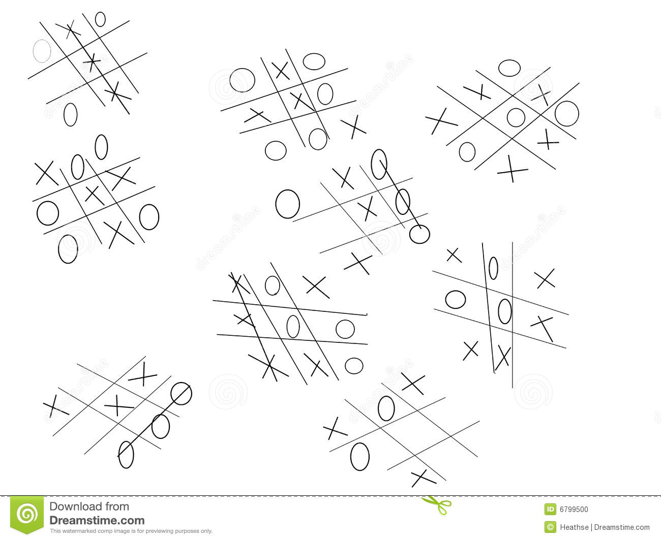 Noughts and crosses game stock illustration. Illustration