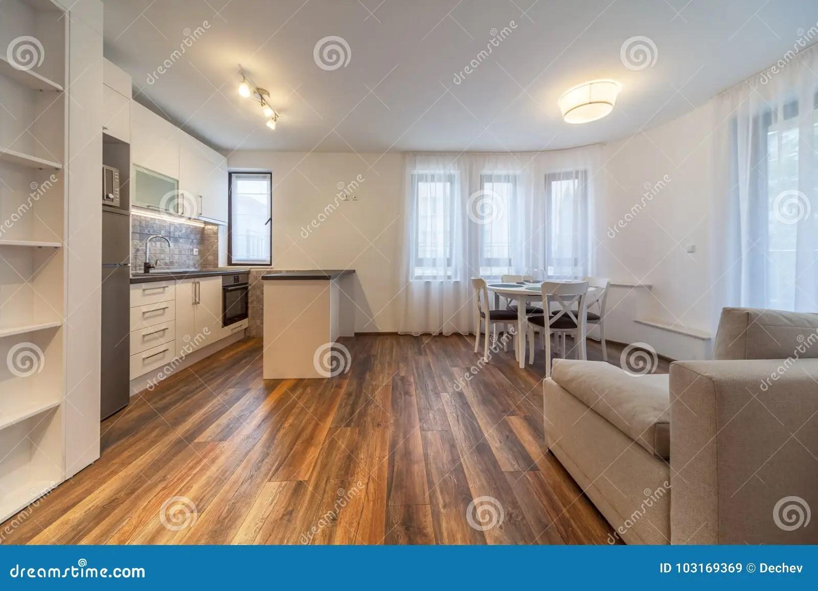 nouveau salon moderne avec la cuisine