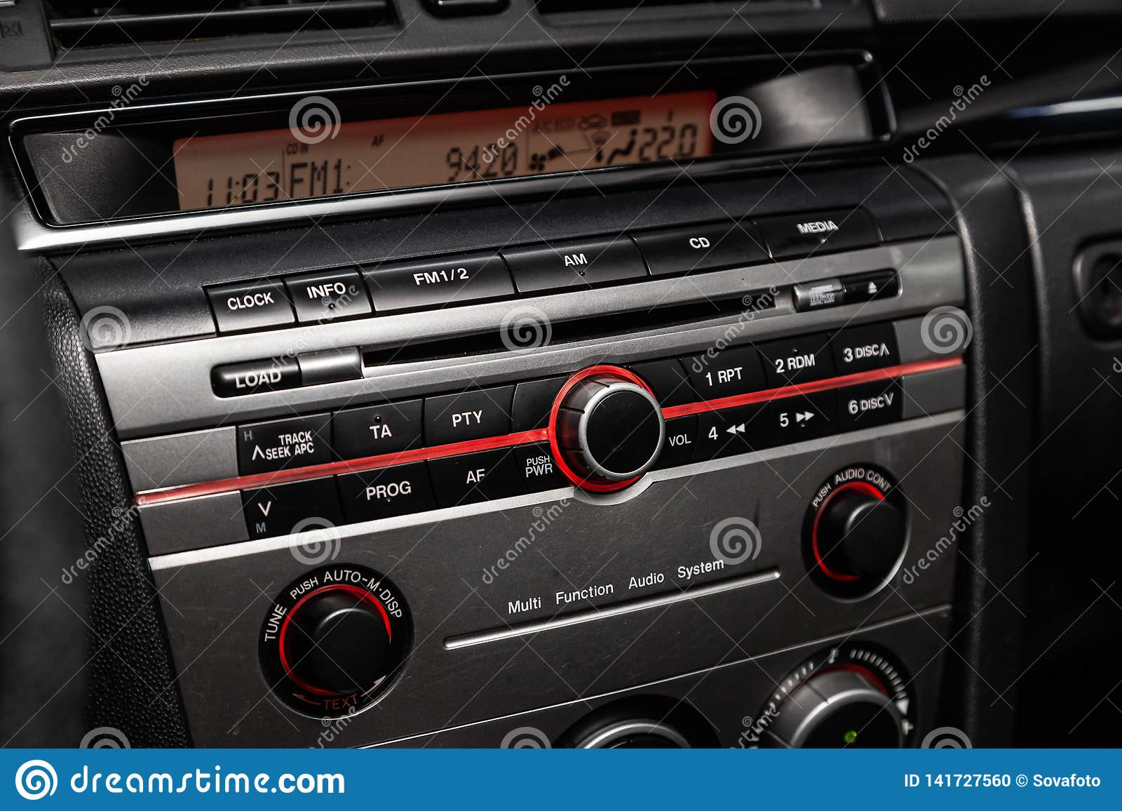 hight resolution of novosibirsk russia march 10 2019 mazda 3 close up of the dashboard radio media player photography of a modern car on a parking in novosibirsk